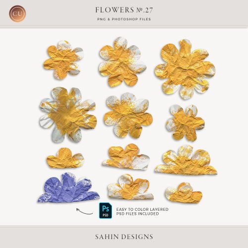 Spray Painted Paper Flowers - Sahin Designs - CU Digital Scrapbook