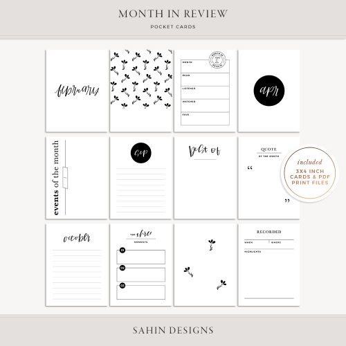 Month in Review Printable Pocket Cards - Sahin Designs