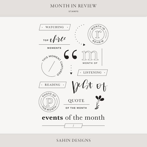 Month in Review Digital Scrapbook Stamps - Sahin Designs
