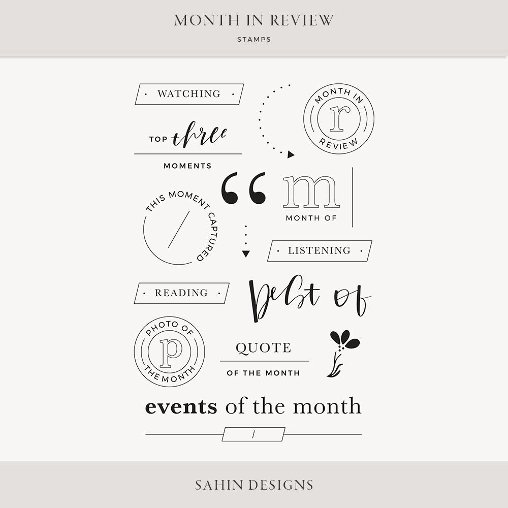 Month in Review Digital Scrapbook Stamps - Sahin Designs