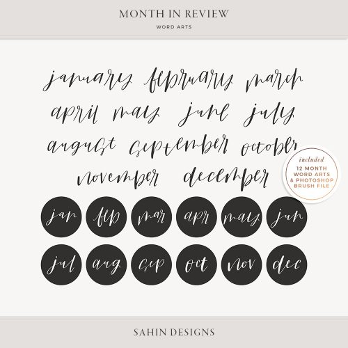 Month in Review Digital Scrapbook Word Arts - Sahin Designs