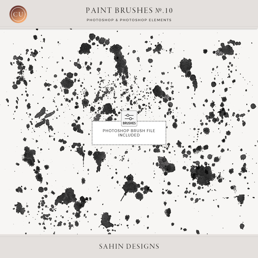 Spat Photoshop Brushes - Sahin Designs - CU Digital Scrapbook