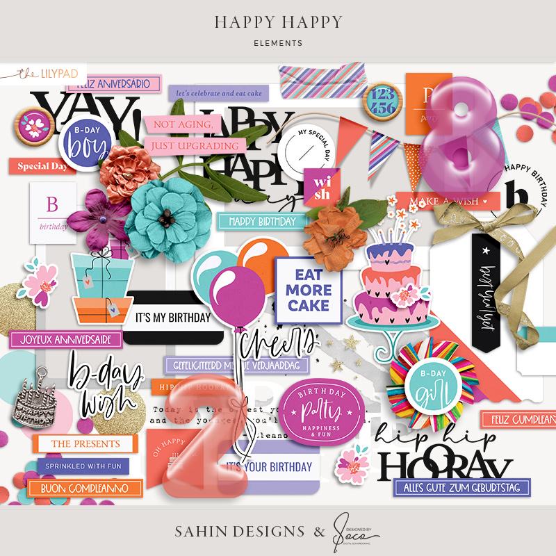 Happy Happy Digital Scrapbook Elements - Sahin Designs