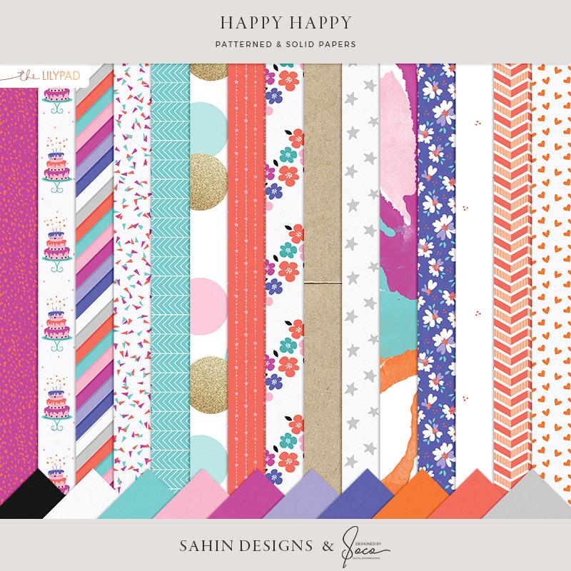 Happy Happy Digital Scrapbook Papers - Sahin Designs