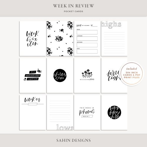 Week in Review Printable Pocket Cards - Sahin Designs