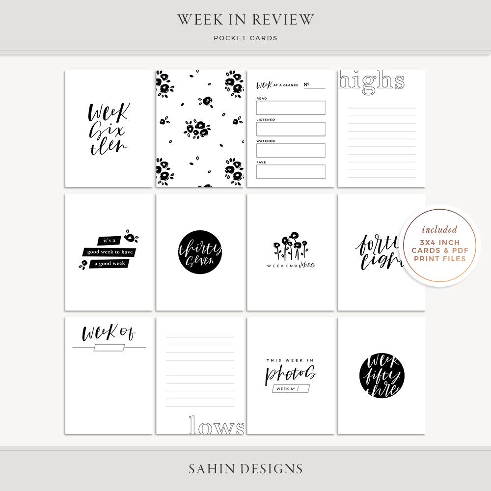 Week in Review Printable Pocket Cards - Sahin Designs