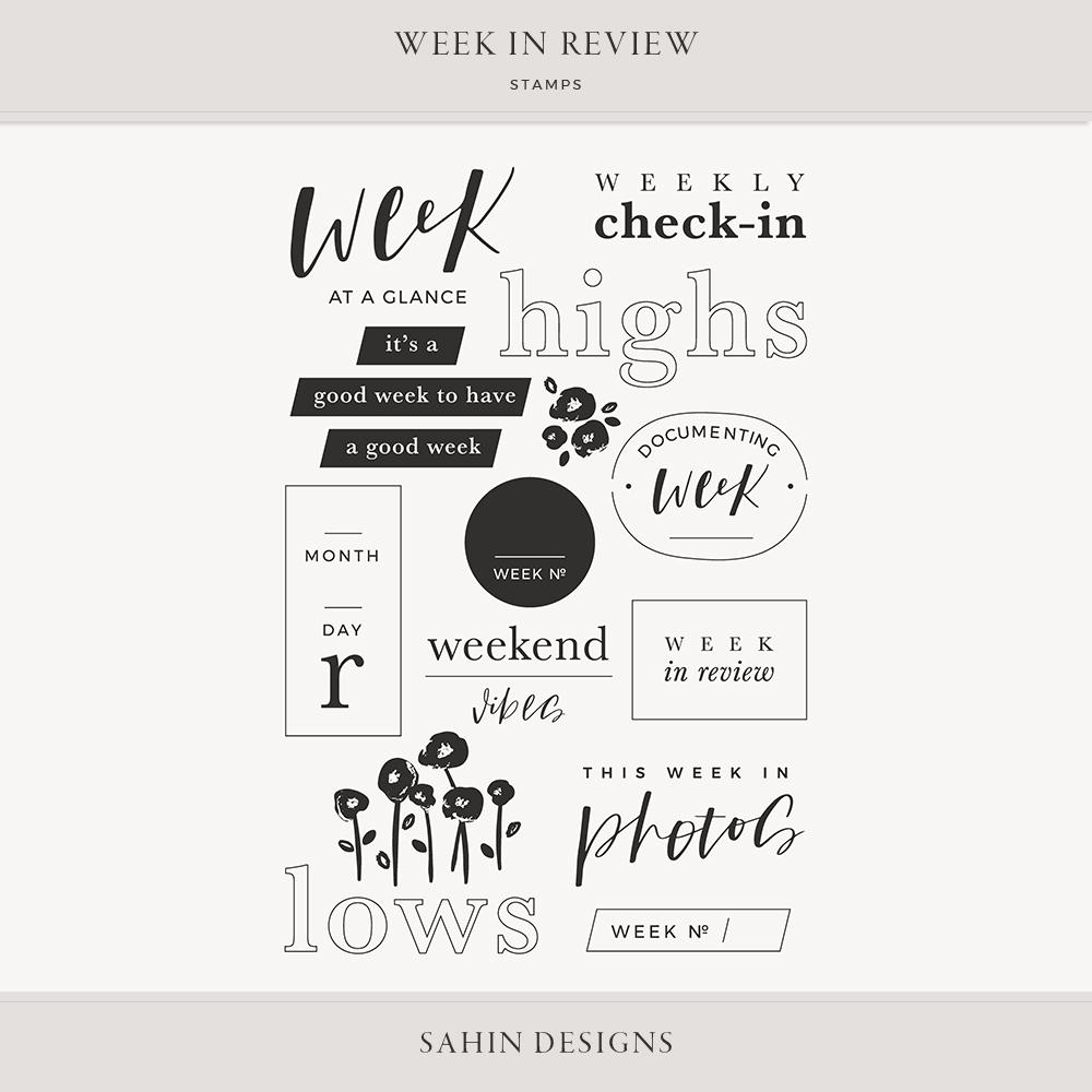 Week in Review Digital Scrapbook Stamps - Sahin Designs