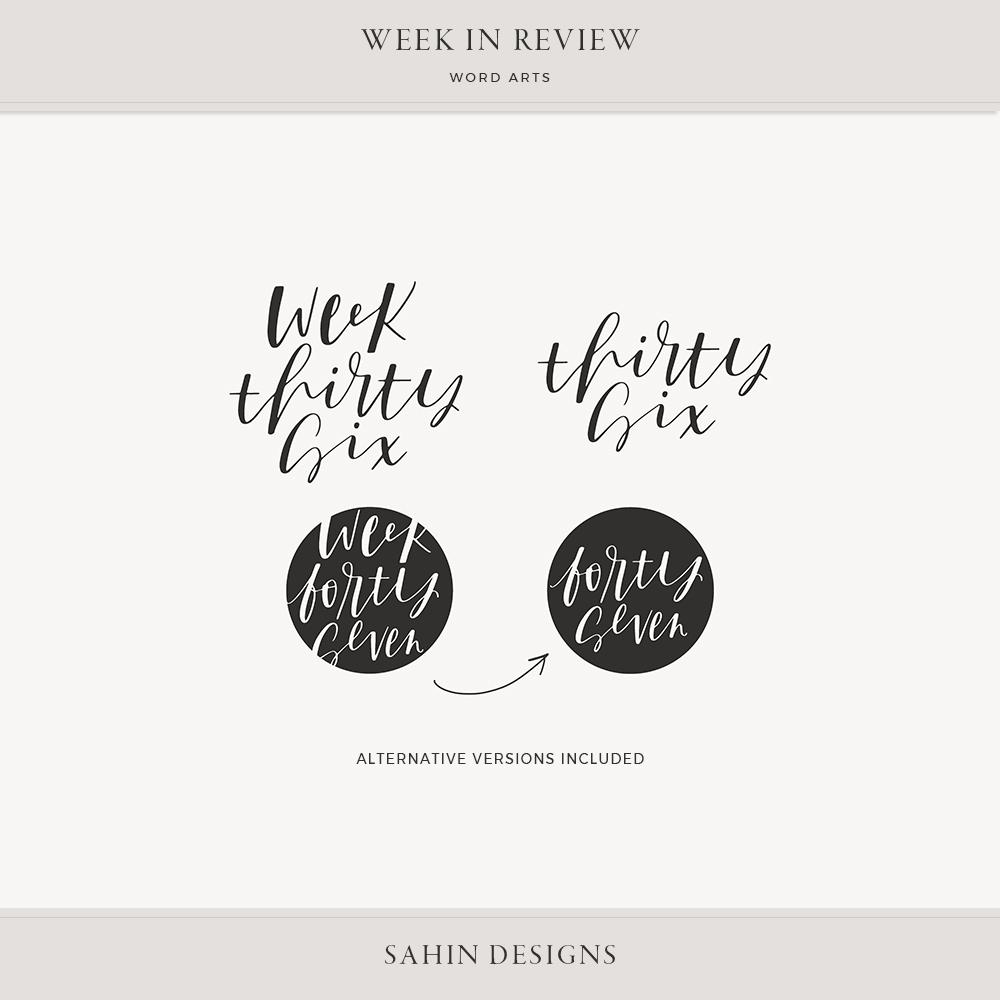 Week in Review Digital Scrapbook Word Arts - Sahin Designs