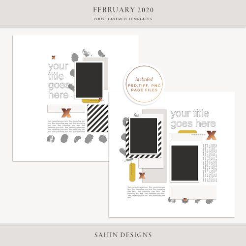 February 2020 Digital Scrapbook Layout Template/Sketch - Sahin Designs