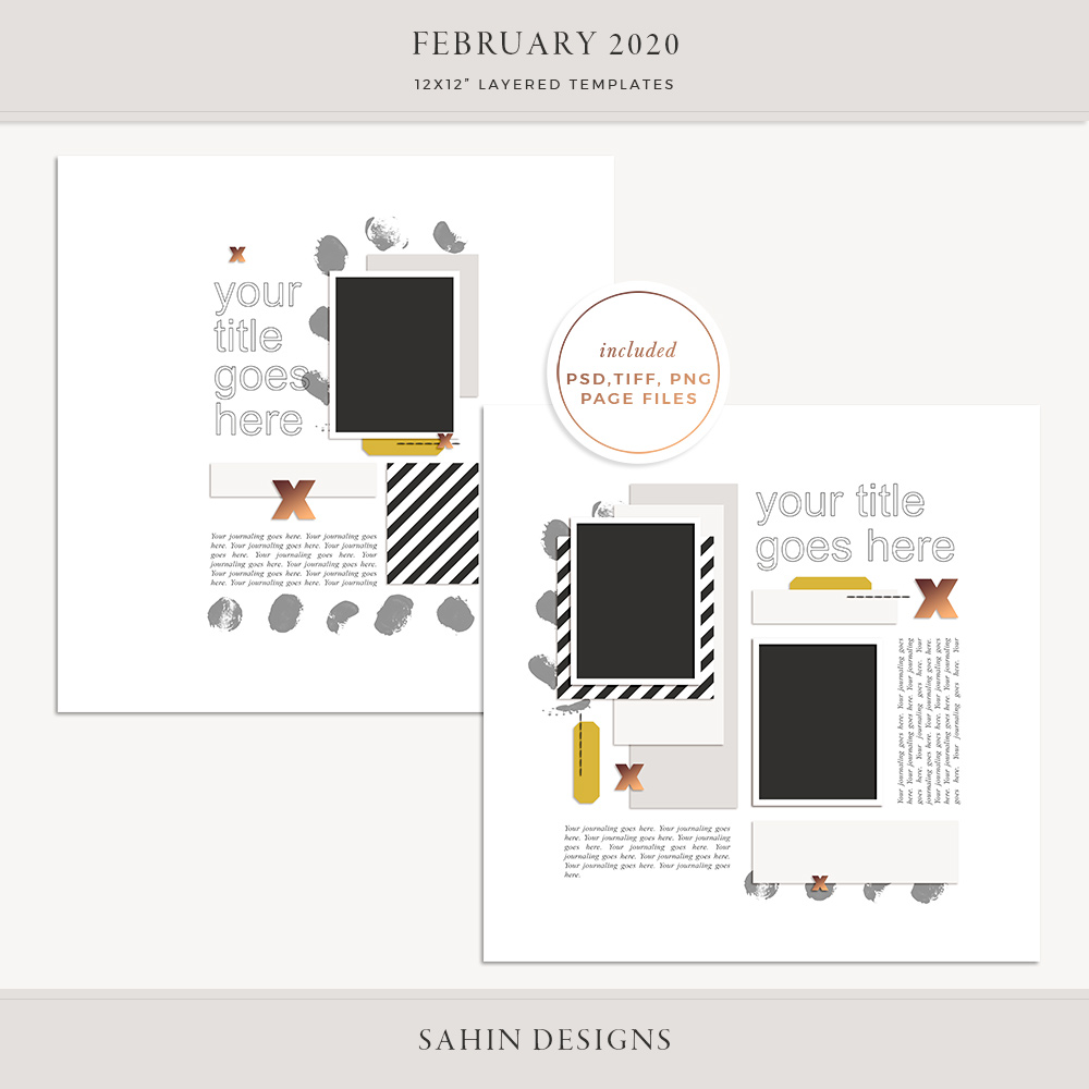 February 2020 Digital Scrapbook Layout Template/Sketch - Sahin Designs
