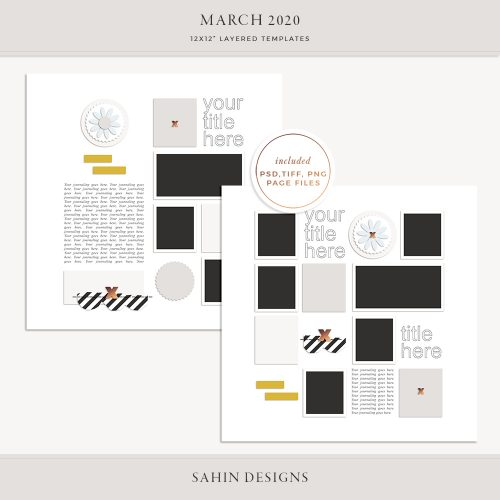 March 2020 Digital Scrapbook Layout Template/Sketch - Sahin Designs
