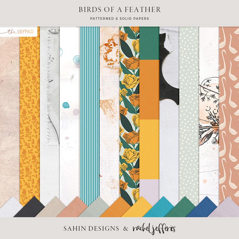 Birds of a Feather Digital Scrapbook Papers - Sahin Designs & Rachel Jefferies