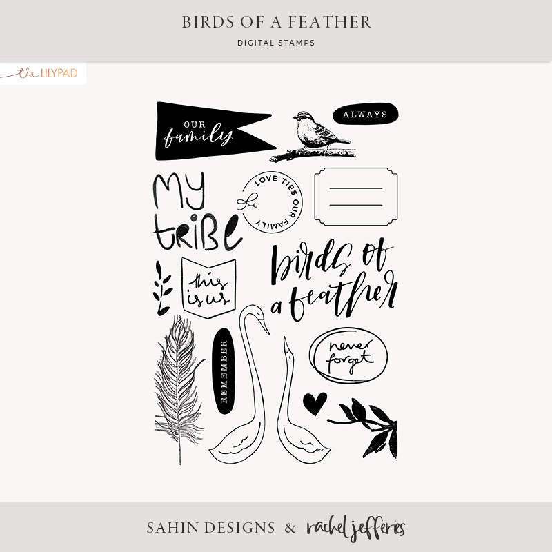 Birds of a Feather Digital Scrapbook Stamps - Sahin Designs & Rachel Jefferies