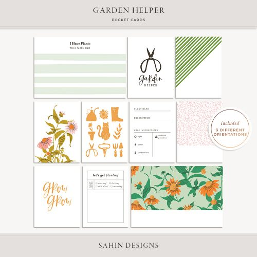 Garden Helper Printable Pocket Cards - Sahin Designs