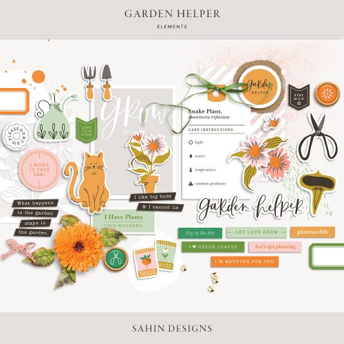 Garden Helper Digital Scrapbook Elements - Sahin Designs