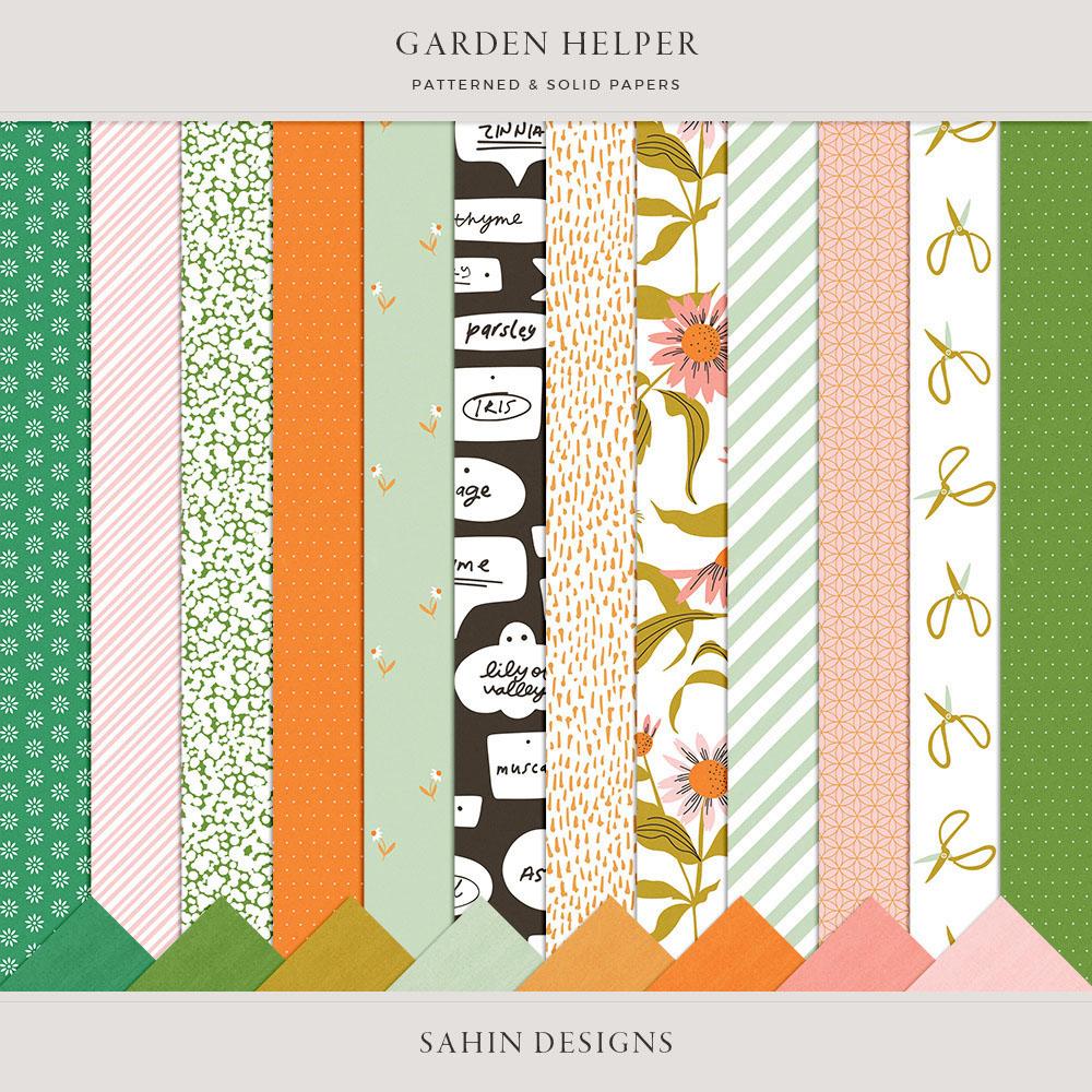 Garden Helper Digital Scrapbook Papers - Sahin Designs