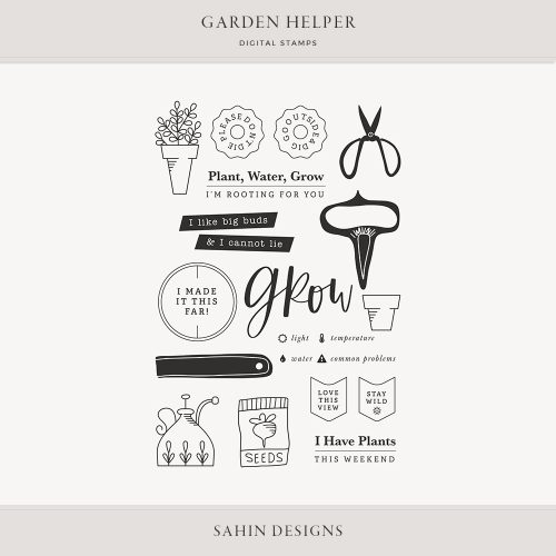 Garden Helper Digital Scrapbook Stamps - Sahin Designs