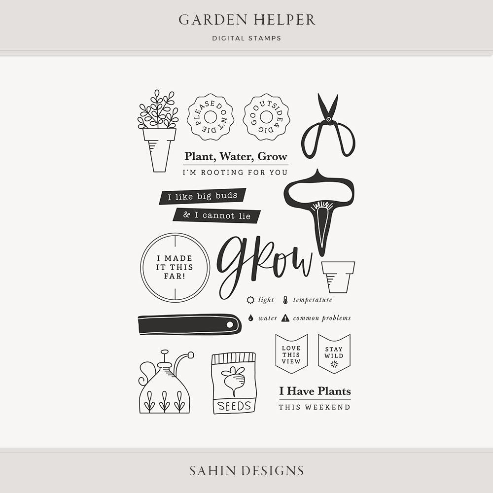 Garden Helper Digital Scrapbook Stamps - Sahin Designs