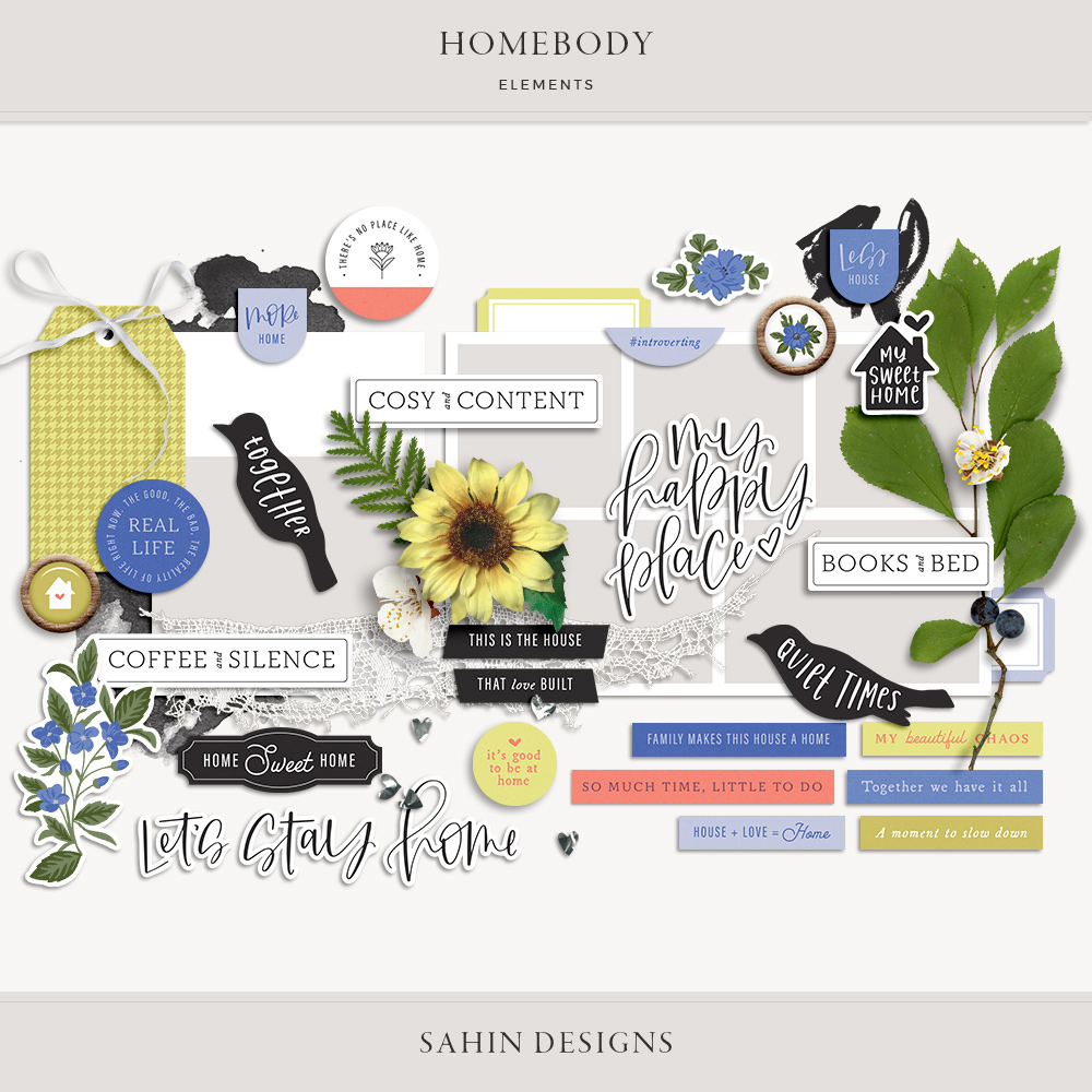 Homebody Digital Scrapbook Elements - Sahin Designs