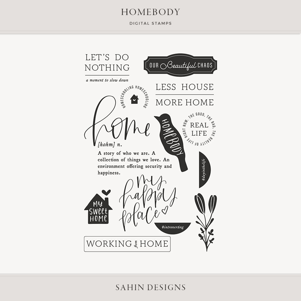 Homebody Digital Scrapbook Stamps - Sahin Designs