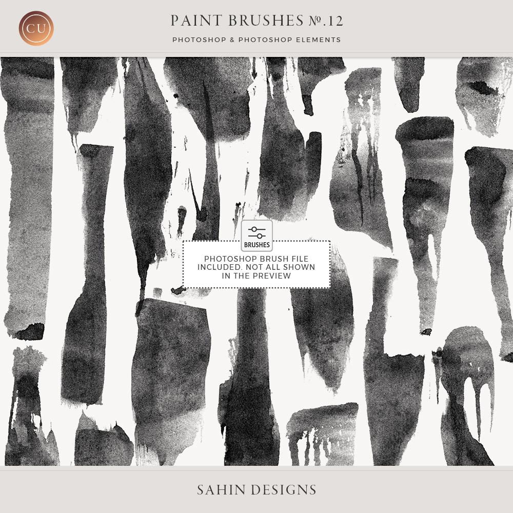 Spatula Ink Marks Photoshop Brushes - Sahin Designs