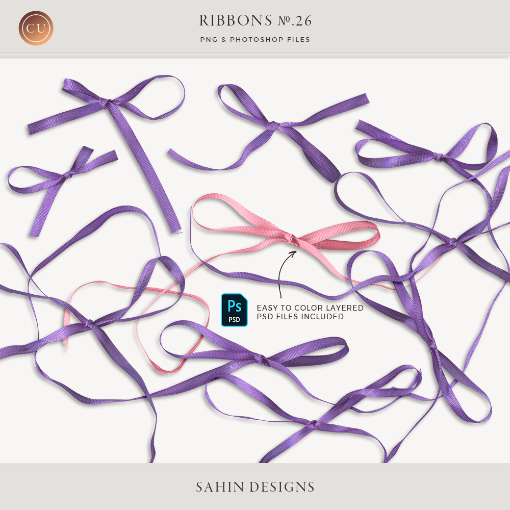 Extracted Thin Ribbons - Sahin Designs - CU Digital Scrapbook