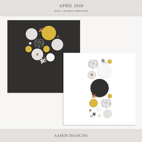 April 2020 Digital Scrapbook Layout Template/Sketch - Sahin Designs