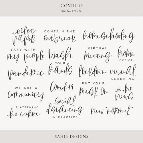 Covid-19 Digital Scrapbook Stamps - Sahin Designs