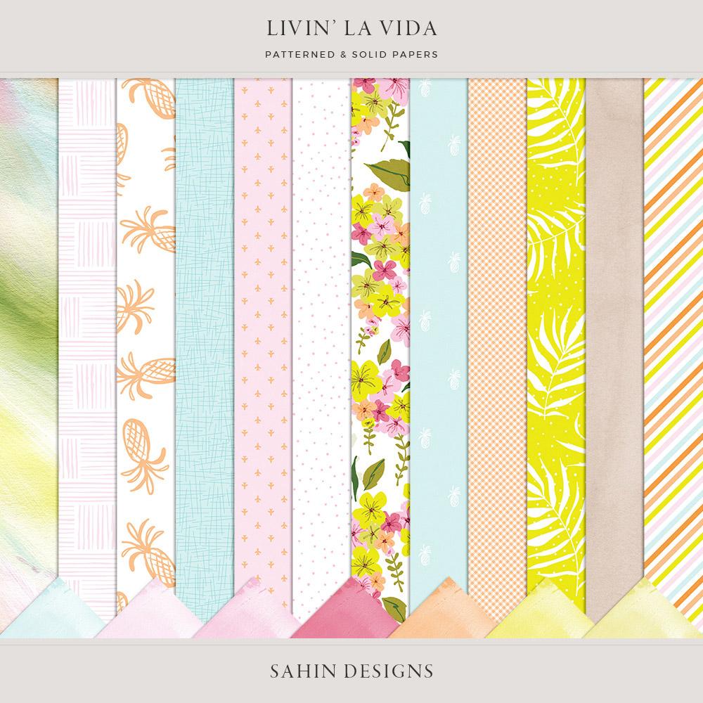 Livin' La Vida Digital Scrapbook Papers - Sahin Designs