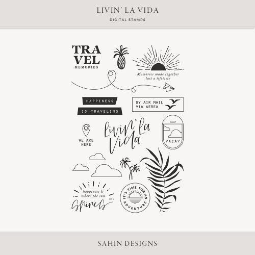 Livin' La Vida Digital Scrapbook Stamps - Sahin Designs