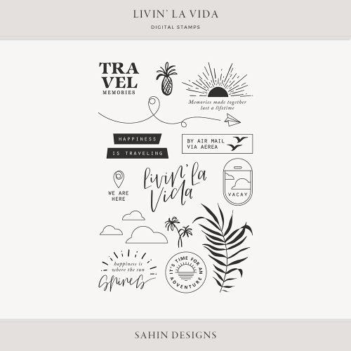 Livin' La Vida Digital Scrapbook Stamps - Sahin Designs