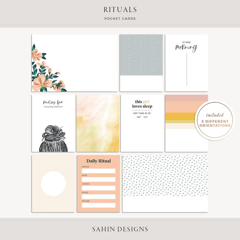 Rituals Printable Pocket Cards - Sahin Designs - Free Scrapbooking Download