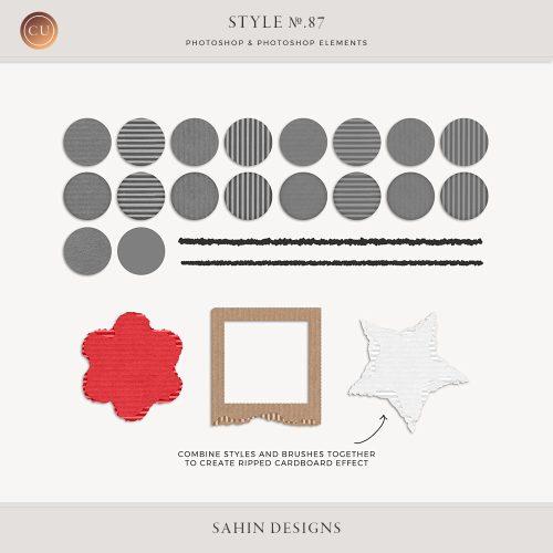 PSE, Photoshop Elements, Photoshop, layer style, cardboard, paper, corrugated, texture