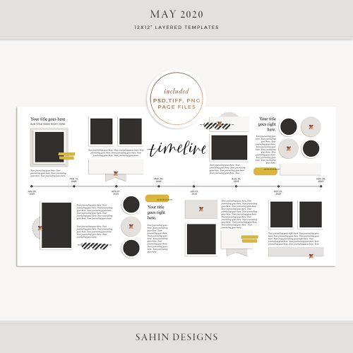 May 2020 Digital Scrapbook Layout Template/Sketch - Sahin Designs