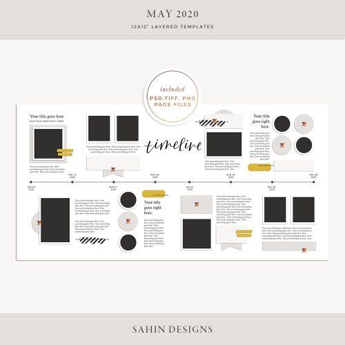 May 2020 Digital Scrapbook Layout Template/Sketch - Sahin Designs