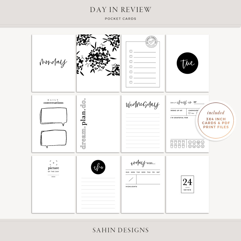 Day in Review Printable Pocket Cards - Sahin Designs