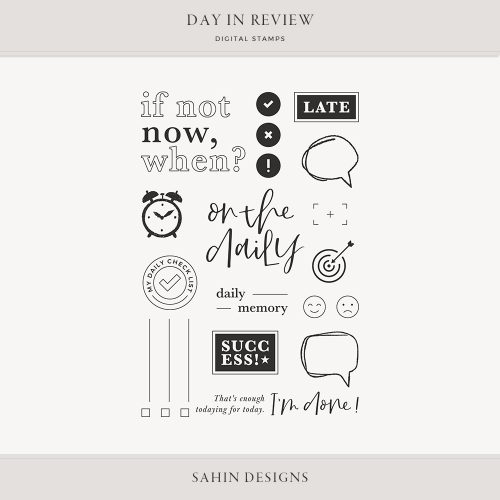 Day in Review Digital Scrapbook Stamps - Sahin Designs