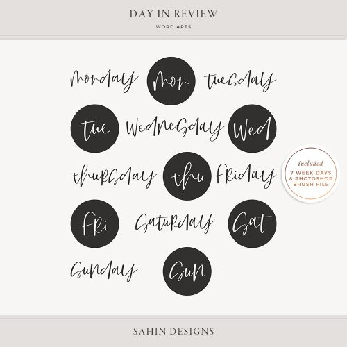Day in Review Digital Scrapbook Word Arts - Sahin Designs