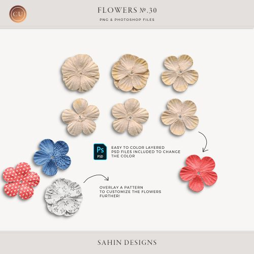 Extracted Paper Flowers - Sahin Designs - CU Digital Scrapbook