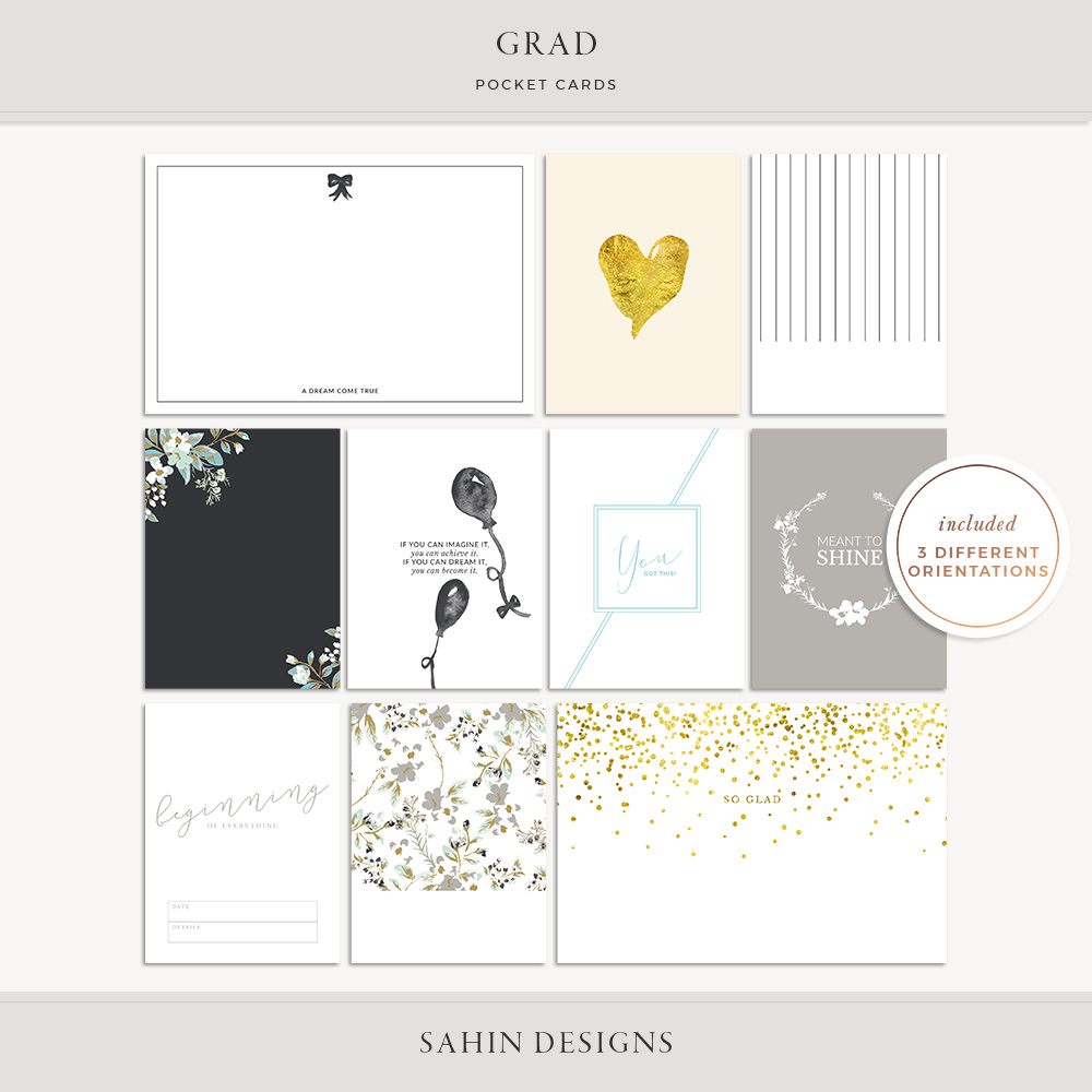 Grad Printable Pocket Cards - Sahin Designs