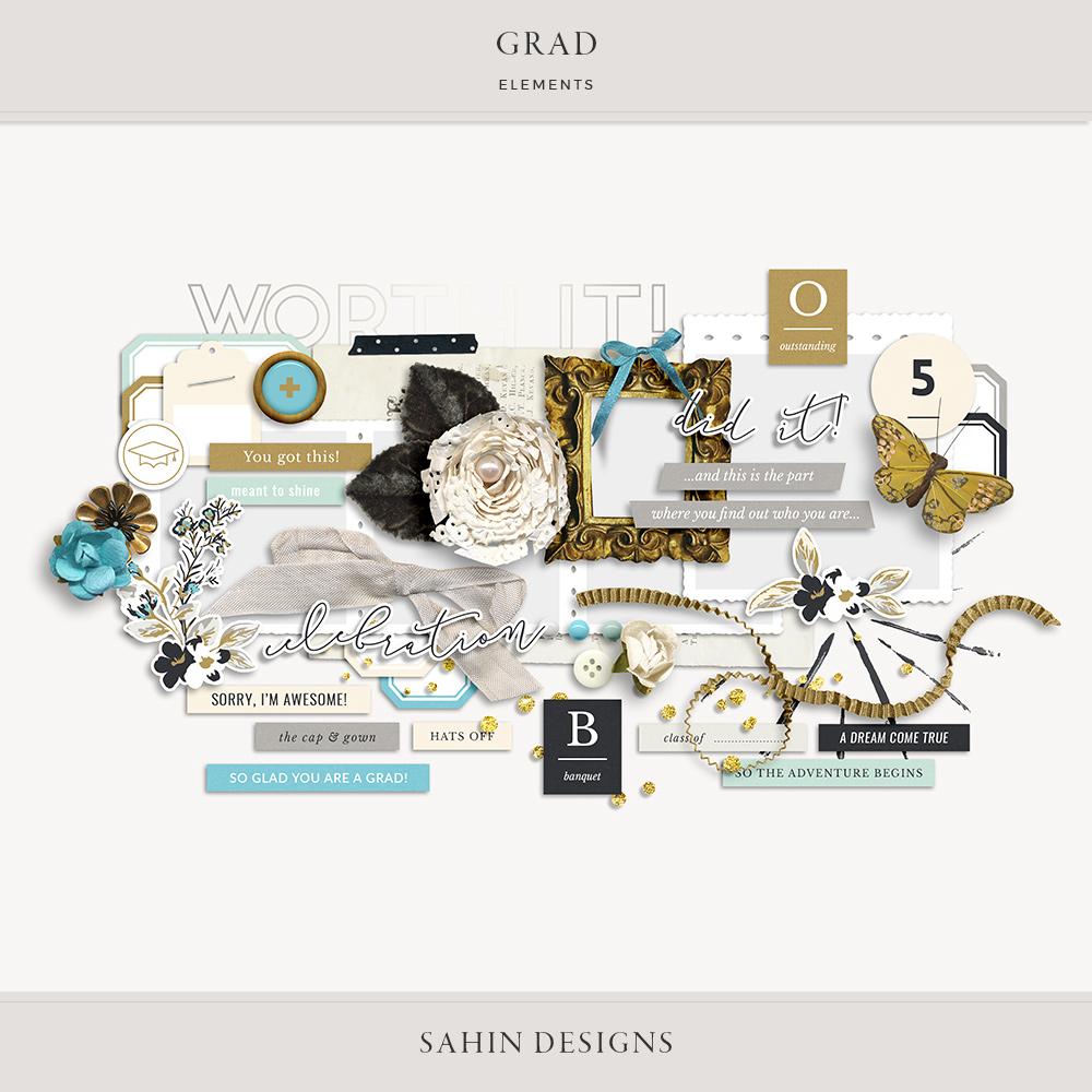 Grad Digital Scrapbook Elements - Sahin Designs