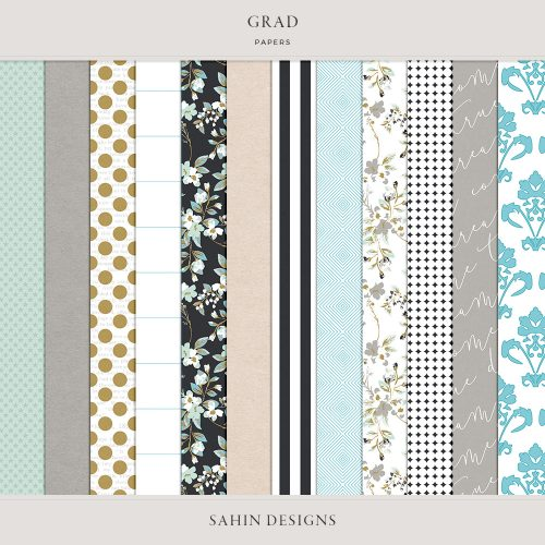 Grad Digital Scrapbook Papers - Sahin Designs