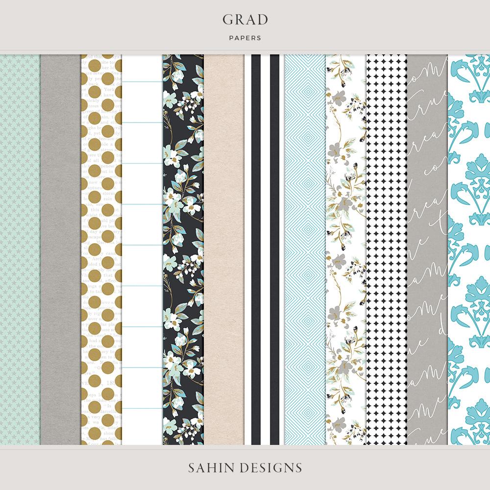 Grad Digital Scrapbook Papers - Sahin Designs