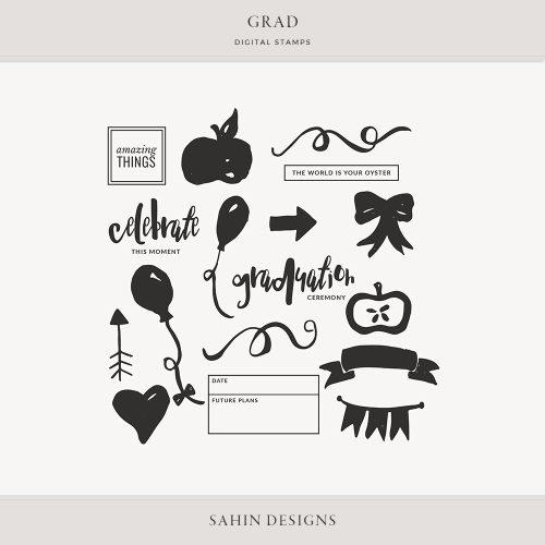 Grad Digital Scrapbook Stamps - Sahin Designs