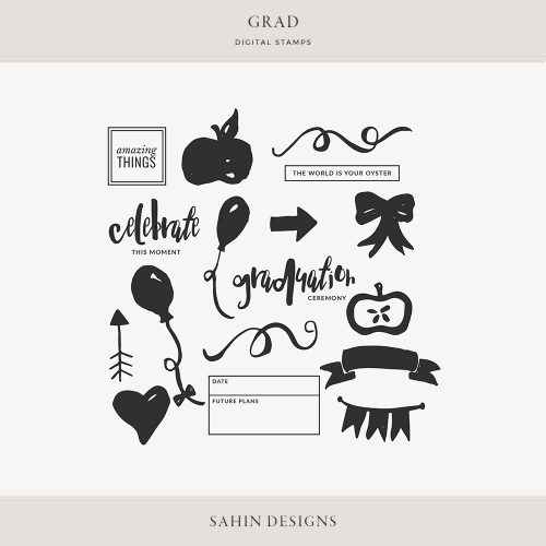 Grad Digital Scrapbook Stamps - Sahin Designs