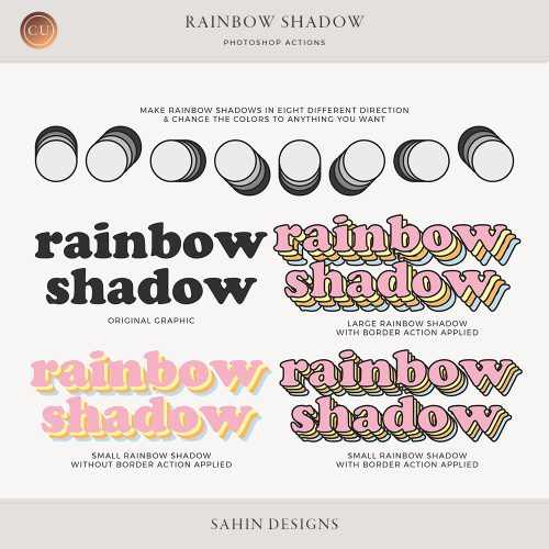 Rainbow Shadow Photoshop Actions - Sahin Designs - CU Digital Scrapbook