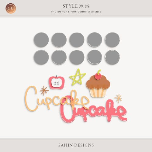 Colored acrylic Photoshop layer styles - Sahin Designs - CU Digital Scrapbook