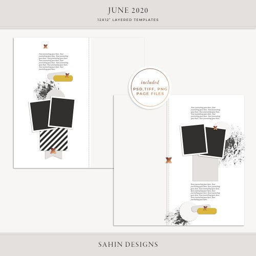 June 2020 Digital Scrapbook Layout Template/Sketch - Sahin Designs