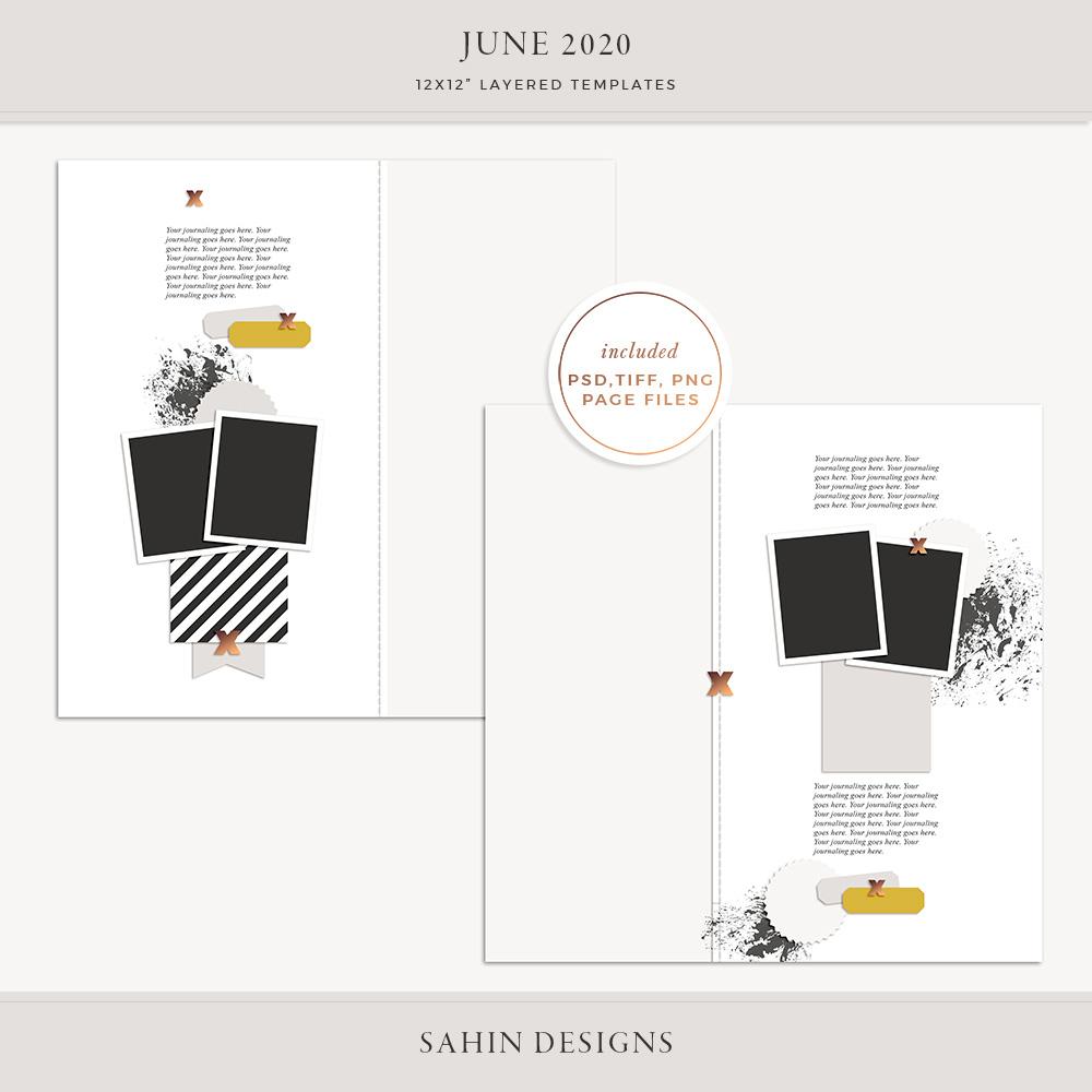 June 2020 Digital Scrapbook Layout Template/Sketch - Sahin Designs