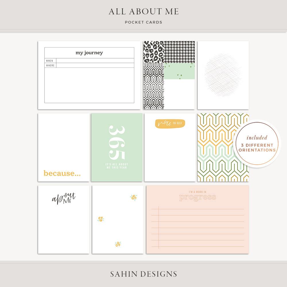 All About Me Printable Pocket Cards - Sahin Designs